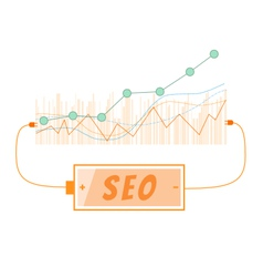 SEO word charging battery power with grow up graph vector