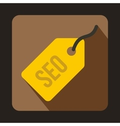 SEO yellow tag icon flat style vector image