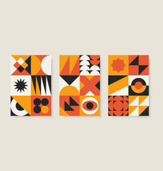 set abstract geometric posters in bauhaus vector image