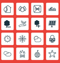 set of 16 ecology icons includes aqua clear vector image