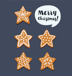 set of christmas gingerbread cookie stars vector image
