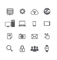 Set of computer and social network connection icon vector image
