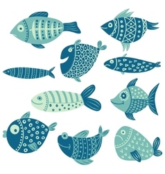 set of fish vector image