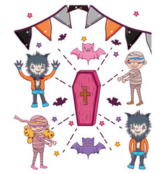 set of hallooween character cartoons vector image