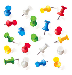 set of push pins in different colors thumbtacks vector image