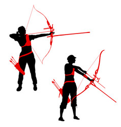 set silhouette attractive female archer bending a vector image