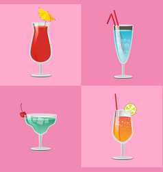 set summer cocktails vodka with juice blue lagoon vector image