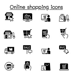 shopping online icon set graphic design vector image
