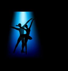 silhouette a couple dancing ballet vector image