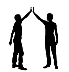 Silhouettes of people in hi five position vector