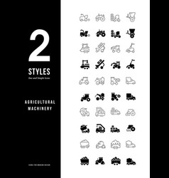simple line icons agricultural machinery vector image