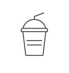smoothie cup line outline icon vector image
