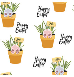 spring seamless happy easter patterns vector image