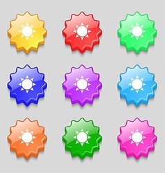 Sun icon sign symbol on nine wavy colourful vector