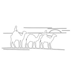 three camels silhouette outline in caravan vector image