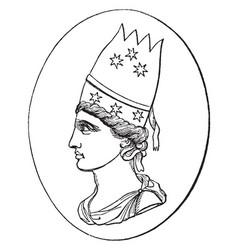 tiara was head-dress vintage engraving vector image