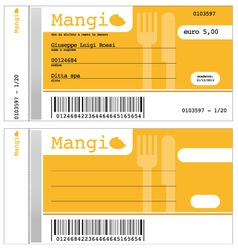 Ticket for restaurant vector