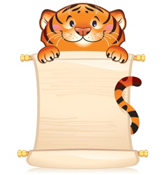 Tiger with scroll - symbol of Chinese horoscop vector