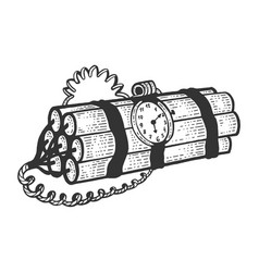Time bomb sketch engraving vector