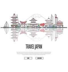 Travel japan poster in linear style vector