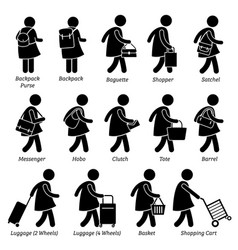 type woman female bags purse wallet and vector image