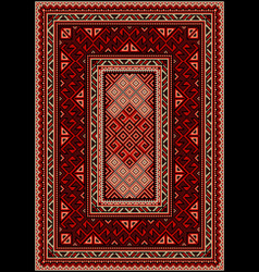 Vintage carpet with ethnic ornament in red shades vector