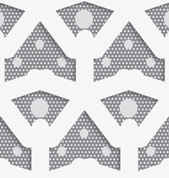 White shapes with big and small dots on gray vector
