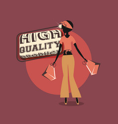 woman shopping bags retro high quality product vector image