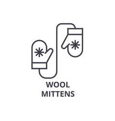 wool mittens line icon outline sign linear vector image