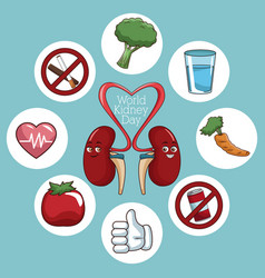 World kidney day icons vector