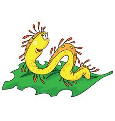 Worm on a leaf vector