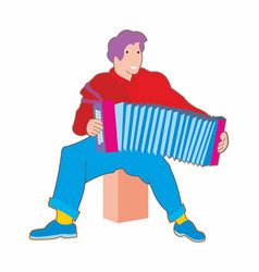 Young musician plays accordion vector