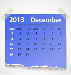 2013 calendar december colorful torn paper vector image