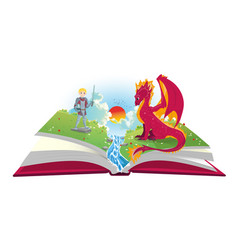 book of fairytales with knight and dragon vector image vector image