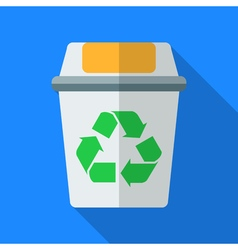 Colorful recycle bin icon in modern flat style vector image