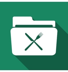 Crossed fork over knife grey folder flat icon with vector image vector image