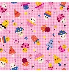 cute mushrooms characters nature pink seamless vector image vector image