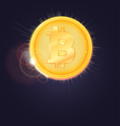 gold coin of the bitcoin the symbol of the vector image