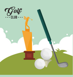 Golf club trophy award balls vector