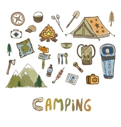 Hand drawn camping elements Summer vacation icons vector image