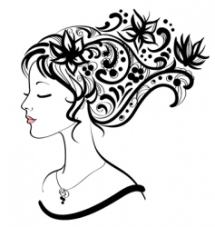 woman face with floral hairstyle vector image