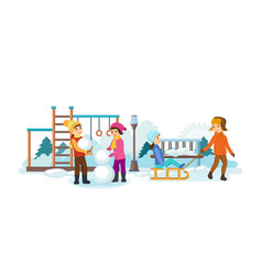 children play in the playground making snowmen vector image