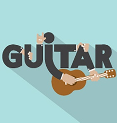 Guitar Typography With Microphones Design vector image vector image