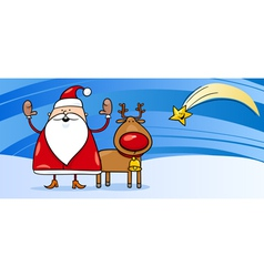 Santa Claus with reindeer greeting card vector image vector image