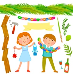 Sukkot collection vector image vector image