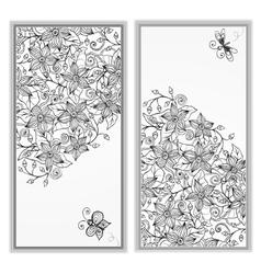 Abstract hand drawn pattern card set vector image