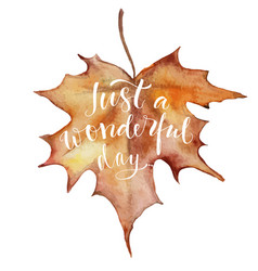 autumn leave with lettering vector image vector image