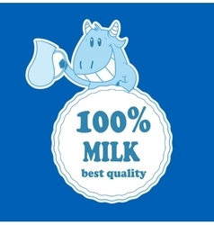Cartoon cow with milk badge vector image