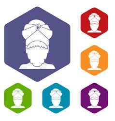 indian man icons set hexagon vector image