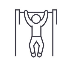 pull up workout street exercise flat line vector image